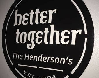 Better Together Personalized Metal Sign - Powder Coated