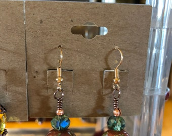 Copper Garden Japanese Tensha 16mm Bead earrings with Swarovski Crystals