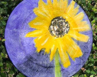 Hand Painted Sunflower on Purchased Plate
