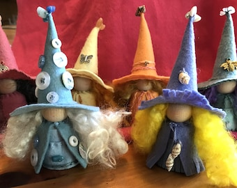 Moonbow of Witches, Pastel Rainbow of Witches, Wool Felt Witch, Peg Doll Witch, Waldorf Inspired, Art Doll