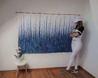 large woven wall hanging, frame wall weaving, bohemian wall tapestry, tapestry, macrame wall hanging, housewarming gift, textile headboard