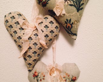 Adorable Hanging Fabric Hearts with Crinkled French Seam Binding and Vintage Buttons ~ Sage Green Floral Hanging Hearts ~ Shabby Chic Hearts