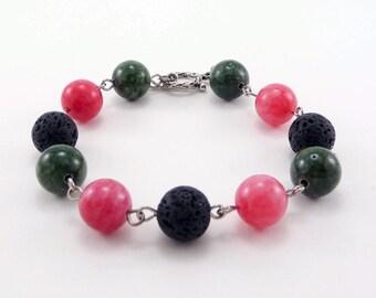 Essential Oil Bracelet, Lava Bead Bracelet, Lava Stone Jewelry, Diffuser, Pink and Green Bracelet, Gemstone Bracelet, Aromatherapy Jewelry