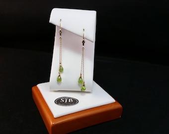 Peridot Earrings, Peridot Dangle Earrings, Peridot Briolette Earrings, 14k Yellow Gold Peridot Leverback Earrings, August Birthstone, #E1107