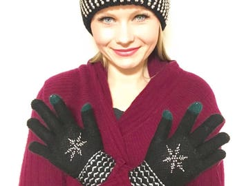 Crystal Snowflake Knit Texting Gloves