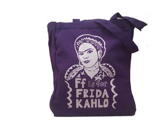 Frida Kahlo Tote Bag : Feminist Tote Bag - Purple with Black or White Screen Print