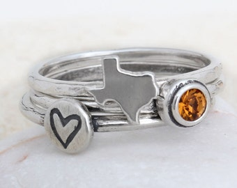 Texas Ring in Sterling Silver, State of Texas Silver Stack Ring Paired with Birthstone, Texas Band Ring by Toozy. Great Graduation Gift!
