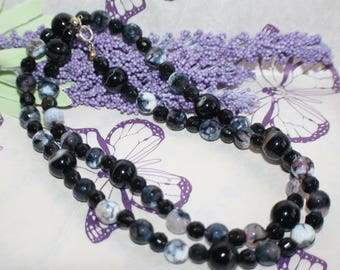 Fabulous Vintage Mixed Black Agate & French Jet Bead Necklace with Silver Catch