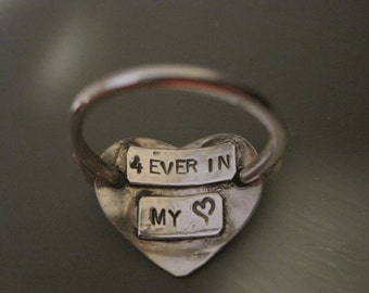 forever in my heart sterling silver stamped heart ring anniversary date initial customized boyfriend wedding loved one
