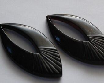 Vintage Black LuciteTeardrop Pendant Drops Italy 50x24mm (2) pnd019F