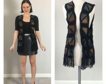 Vintage 70s Handmade bohemian knit & Leather patch Vest   S  M