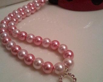 Handmade Pink Pearls Beaded Necklace - Breast Cancer Necklace - Pearl Necklace - Handmade Charm Necklace - Survivor Necklace