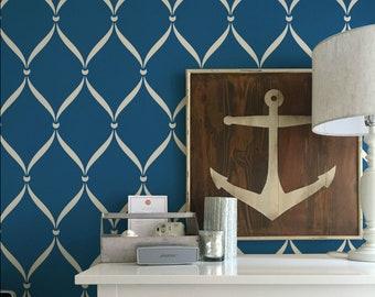 Ribbon Lattice Trellis Wallpaper Wall Stencil Pattern - Painting Large Classic Wall Designs for Bedroom, Living Room, Nursery Mural