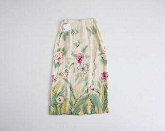 floral calf skirt   90s floral skirt   long floral skirt