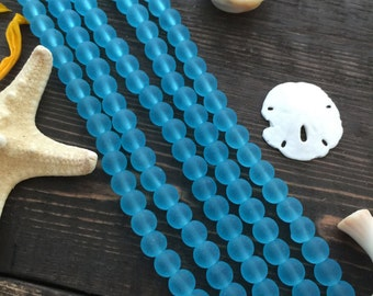 """Turquoise Blue, 6mm Round Cultured Glass Beads, 34 beads, 8"""" strand, Cultured Sea Glass, Jewelry Making Supplies"""