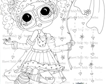 INSTANT DOWNLOAD Digital Digi Stamps Big Eye Big Head Dolls Digi  My - Besties  IMG235  By Sherri Baldy