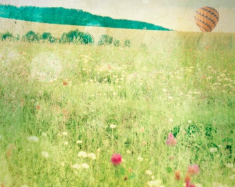 Hot Air Balloon,floral wall decor,spring print,flower field,nature print,air balloon print,landscape photograph,air balloon,balloon print