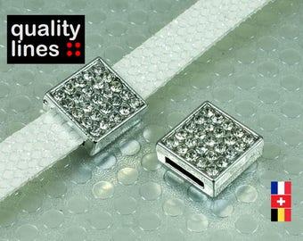 Silver rhinestone 8mm flat leather cord loop / 1.5 mm - 8 mm slide