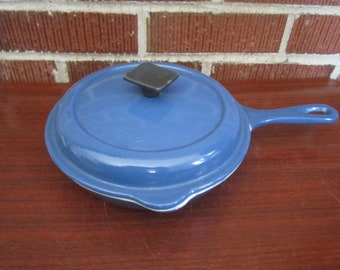 Vintage Le Creuset Royal Blue Small Cast Iron Enamel Skillet with Lid