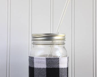 Black & White Buffalo Check Flannel Mason Jar Sleeve - for PINT size Mason Jar (16 oz)