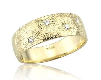 Art Nouveau Inspire Diamond Embedded 14k Gold Band, Diamonds Engagement Ring, Gold Wedding Band, Art Nouveau Engagement Ring, Wide Band