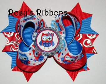 July 4th cute owl bow ON SALE NOW!