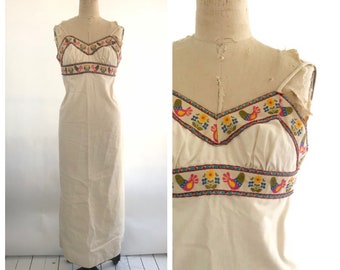 70s embroidered dress | 1970s maxi dress |