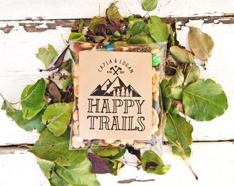 Happy Trails Wedding Favor Stickers - Outdoor, Backpacker Wedding, Shower Favors - Kraft Trail Mix DIY Favors - 24 Stickers
