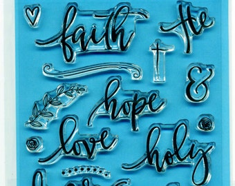 Faith Art Stamps - Bible Journaling Faith Hope Love Peace Fear Not Christian Scripture