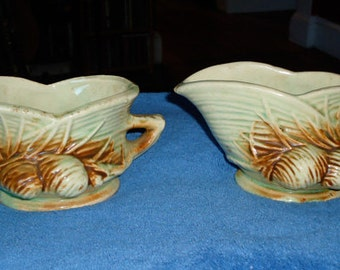"c1940's McCoy Art Pottery ""Pinecone"" Creamer and Sugar bowl"