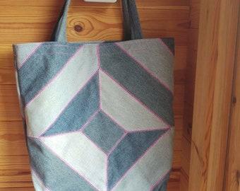 Repurposed denim tote bag