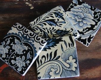 Unique Stone Coasters - ivory & blue floral