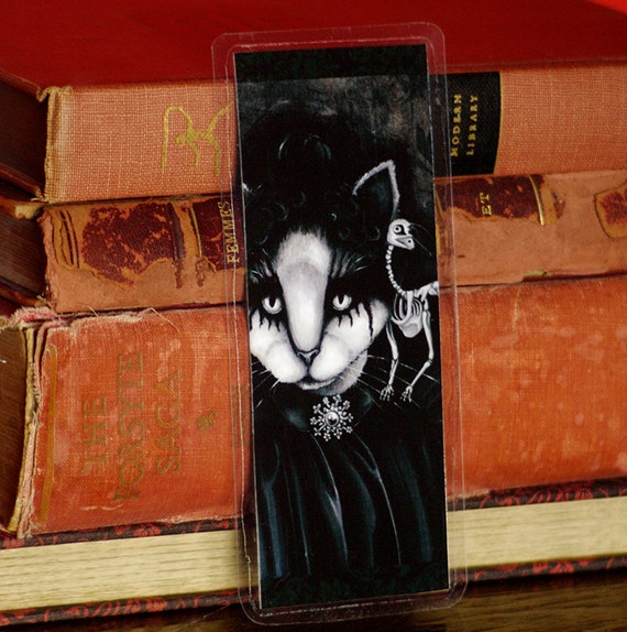 Victorian Goth Cat and Raven Skeleton Bookmark