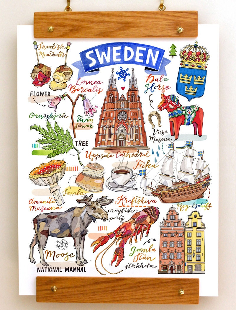 Sweden print national symbols sverige illustration moose zoom biocorpaavc Image collections
