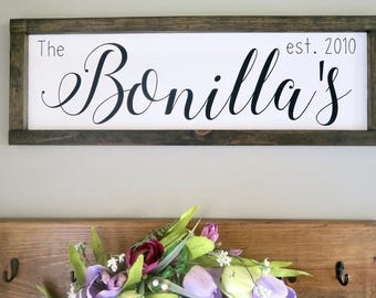 Family Name Established sign | Personalized name sign | rustic wood sign | Custom last name sign | Farmhouse style | Wedding gift