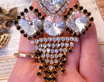 SPRING20%OFF stunning vintage large rivoli brooch pin tassel