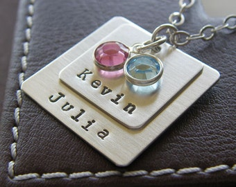 Personalized Square Charm Layering Necklace - Hand Stamped Sterling Silver - Two Layered Charm Necklace with Optional Birthstones or Pearls