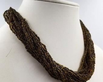 Translucent Brown Bead Multi Strand Torsade Necklace