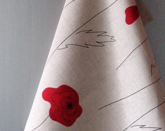 Linen Cotton Dish Towels Tea Towels Red Poppies Red Black Gray Tea Towels