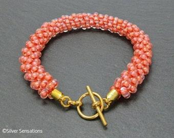 Pastel Peach Woven Kumihimo Seed Bead Bracelet, Feminine Bracelet, Gift for Her, Summery Holiday Bracelet, Fashion Bracelet, Birthday Gift