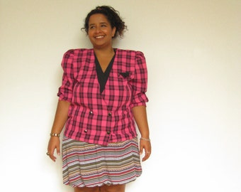 80s-Friendly Heathers Houndstooth Patterned Pink Blazer