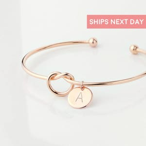Rose Gold Tie The Knot Bracelets For Women Will You Be My Maid Of Honor Bangles Bridesmaid Proposal Best Selling Items - KBR