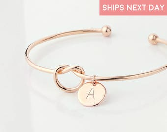 Rose Gold Tie The Knot Bracelets For Women Will You Be My Maid Of Honor Bangles Bridesmaid Proposal Mother gift from Daughter - KBR