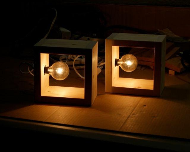 Simple modern box lamp minimalist lighting wood wooden square for Modern minimalist lighting