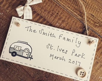 Personalised caravan plaque sign gift family holiday camp seaside birthday name