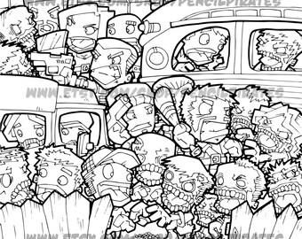 Zombie Car Park Massacre Colouring Page Adult Book