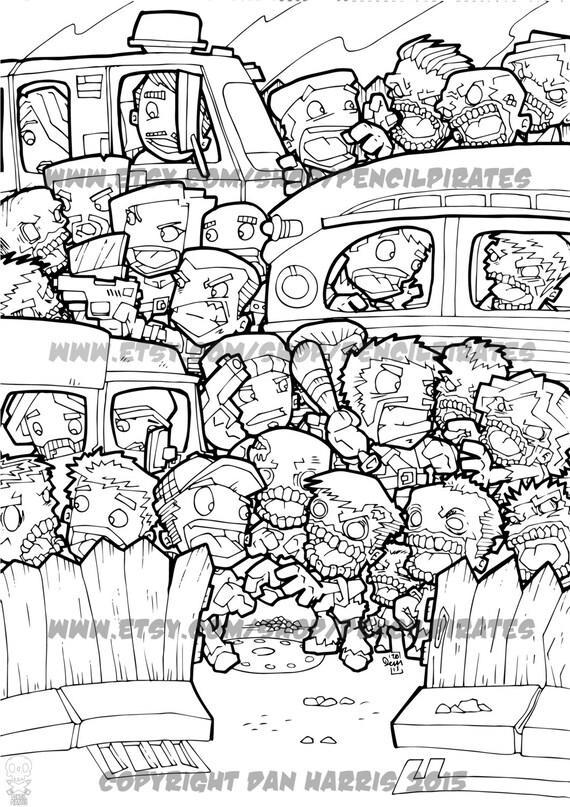 Zombie Car Park Massacre Colouring Page Adult colouring book