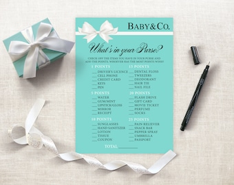 Whatu0027s In Your Purse Baby Shower Game, Tiffany Baby Shower Printable,  Breakfast Tiffanys Baby