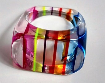 1960s Lucite Rainbow Statement Ring Size 8 Vintage Fun Chunky Ring Perfect for Pride Mod Collectible Plastic Jewelry