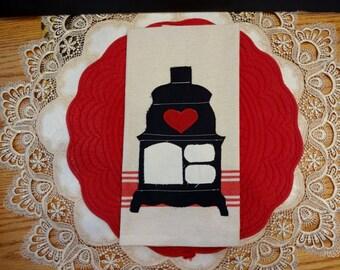 Hand Appliqued Dish Towel, Primitive Country Wood Stove Towel, Kitchen Decor, Home Decor, Dish Towel, Primitive Decor,